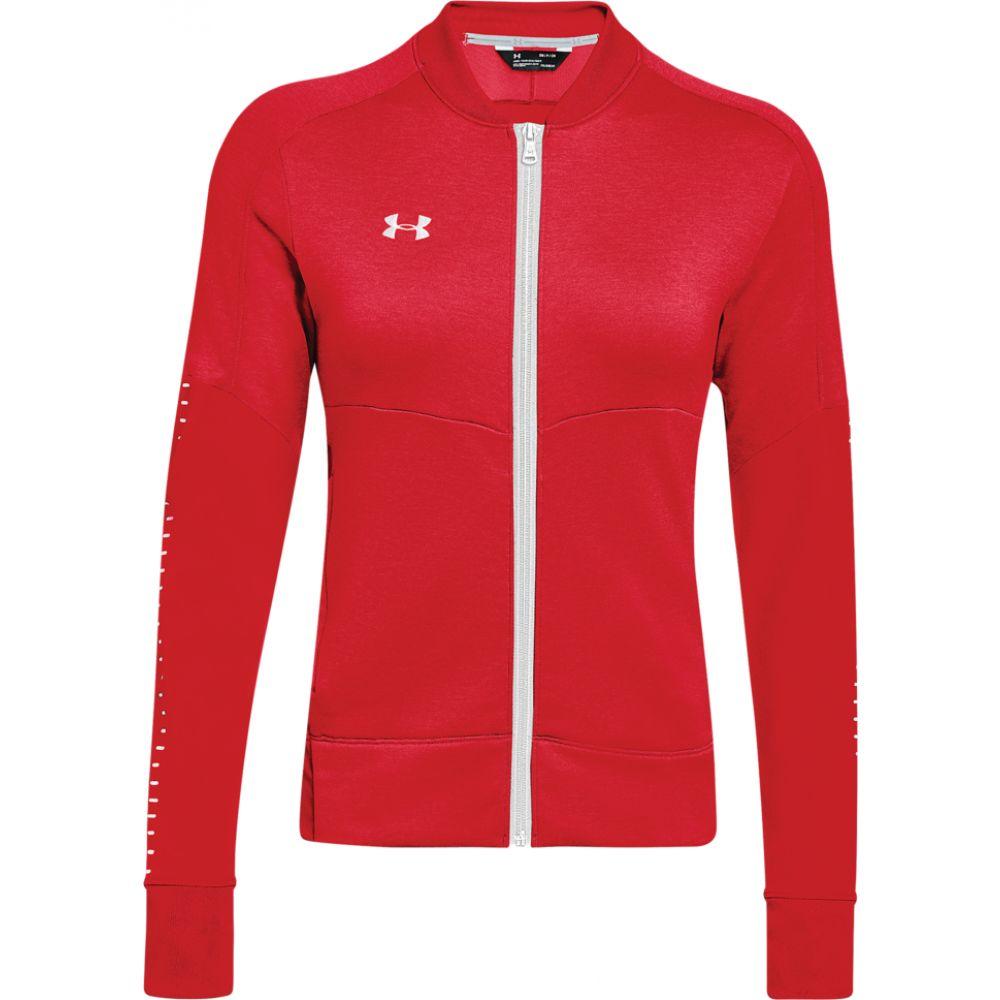 アンダーアーマー Under Armour レディース ジャケット アウター【team qualifier hybrid warm-up jacket】Red/White