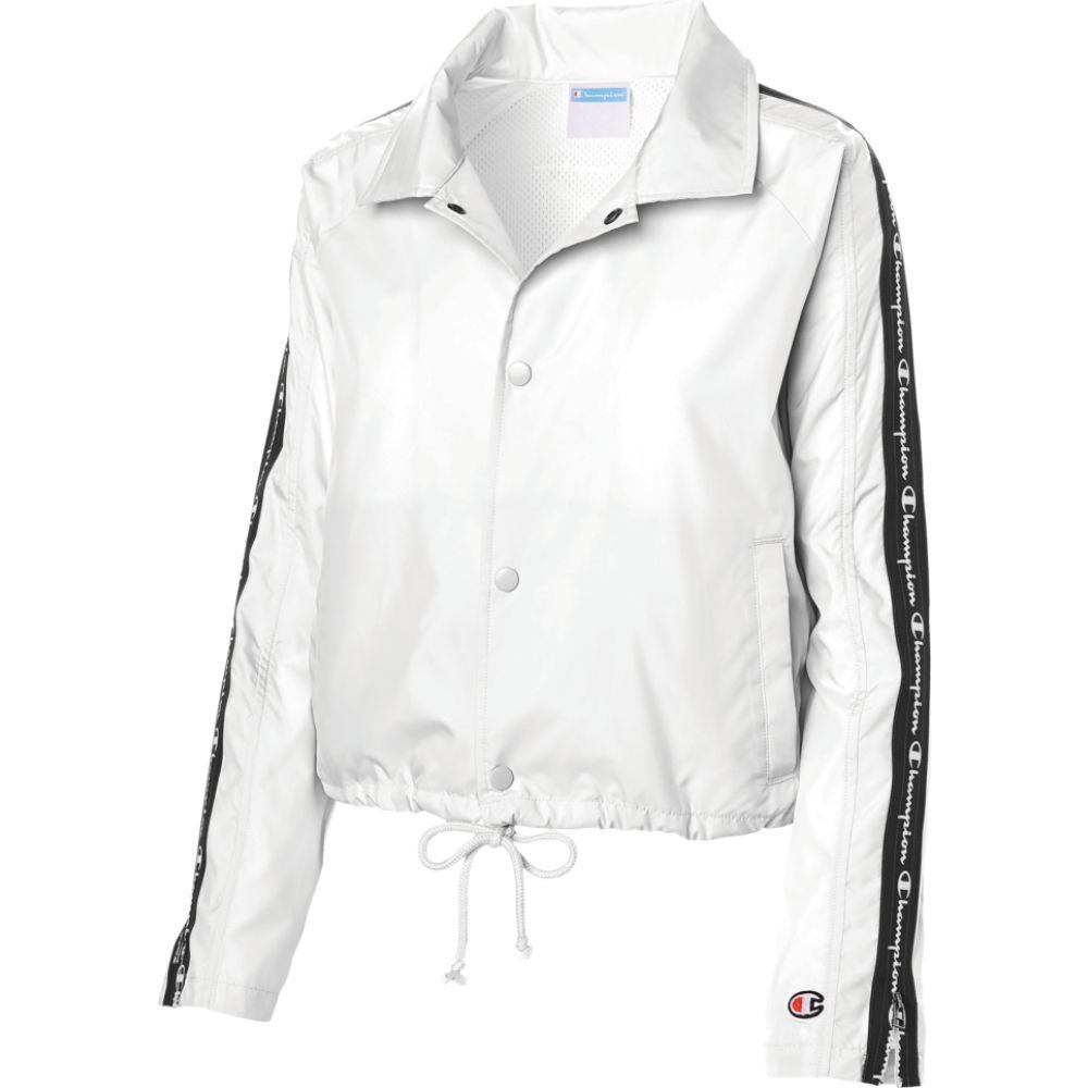チャンピオン Champion レディース ジャケット コーチジャケット アウター【taped cropped coaches jacket】White