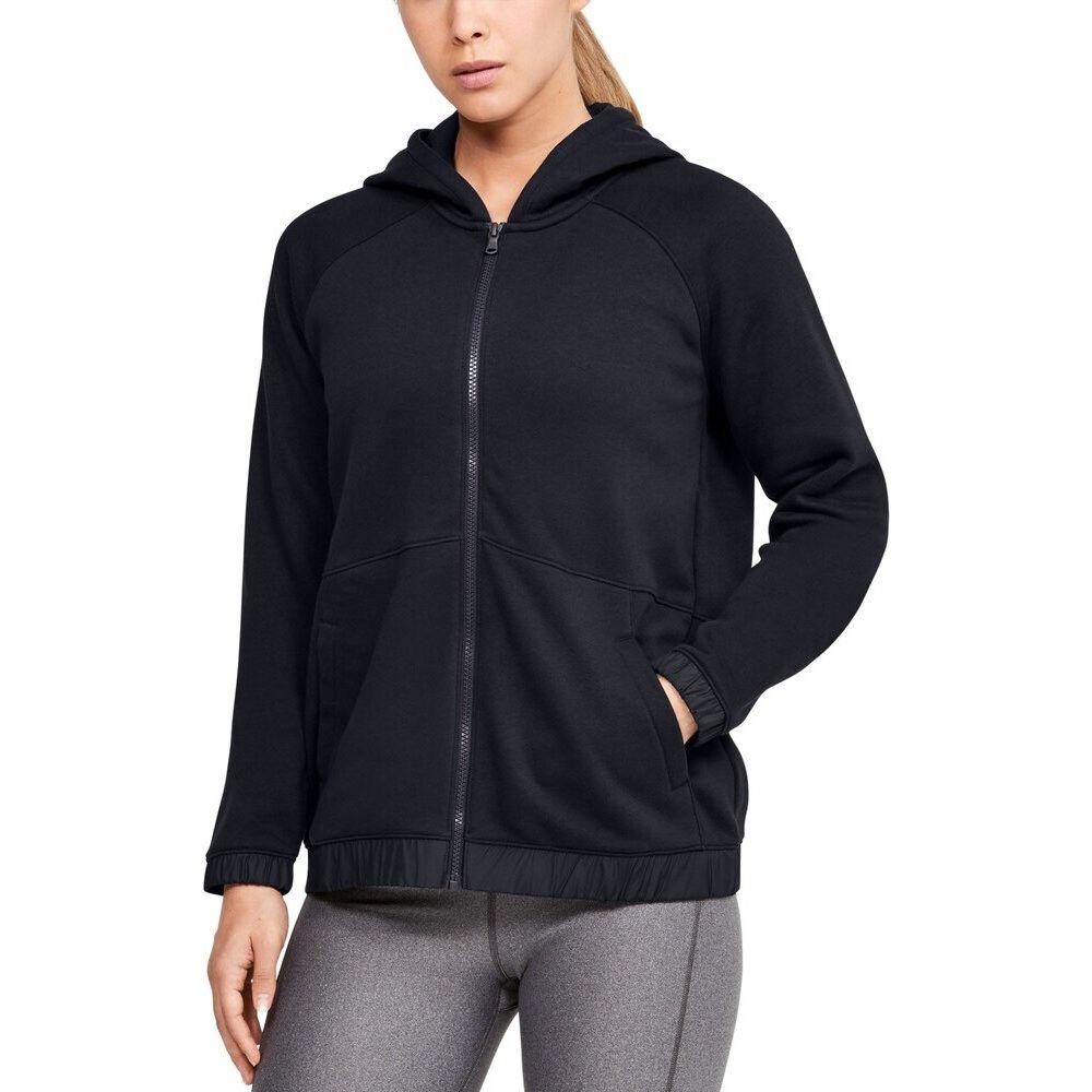 アンダーアーマー Under Armour レディース フィットネス・トレーニング パーカー トップス【team hustle fleece full-zip hoodie】Black/White