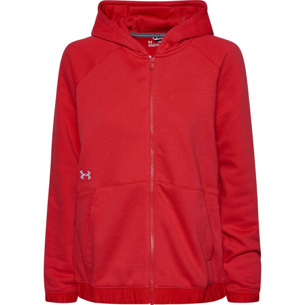 アンダーアーマー Under Armour レディース フィットネス・トレーニング パーカー トップス【team hustle fleece full-zip hoodie】Red/White