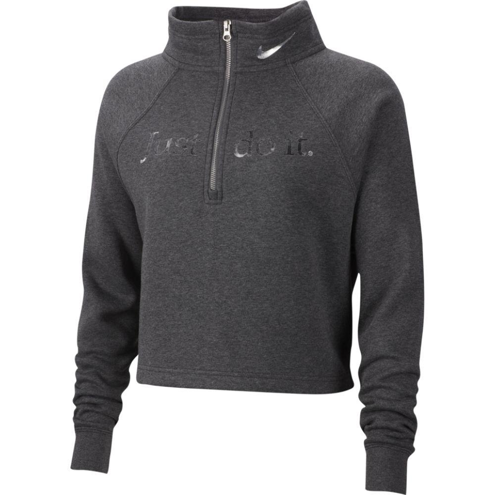 ナイキ Nike レディース トップス ハーフジップ【glam dunk 1/2 zip funnel-neck】Charcoal Heather/Dark Steel Grey/Metallic Silver