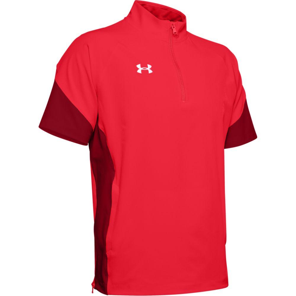 アンダーアーマー Under Armour メンズ フィットネス・トレーニング トップス【team motivate woven s/s 1/4 zip】Red/White