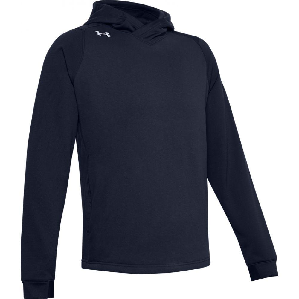 アンダーアーマー Under Armour メンズ フィットネス・トレーニング パーカー トップス【team elevated fleece hoodie】Midnight Navy/White