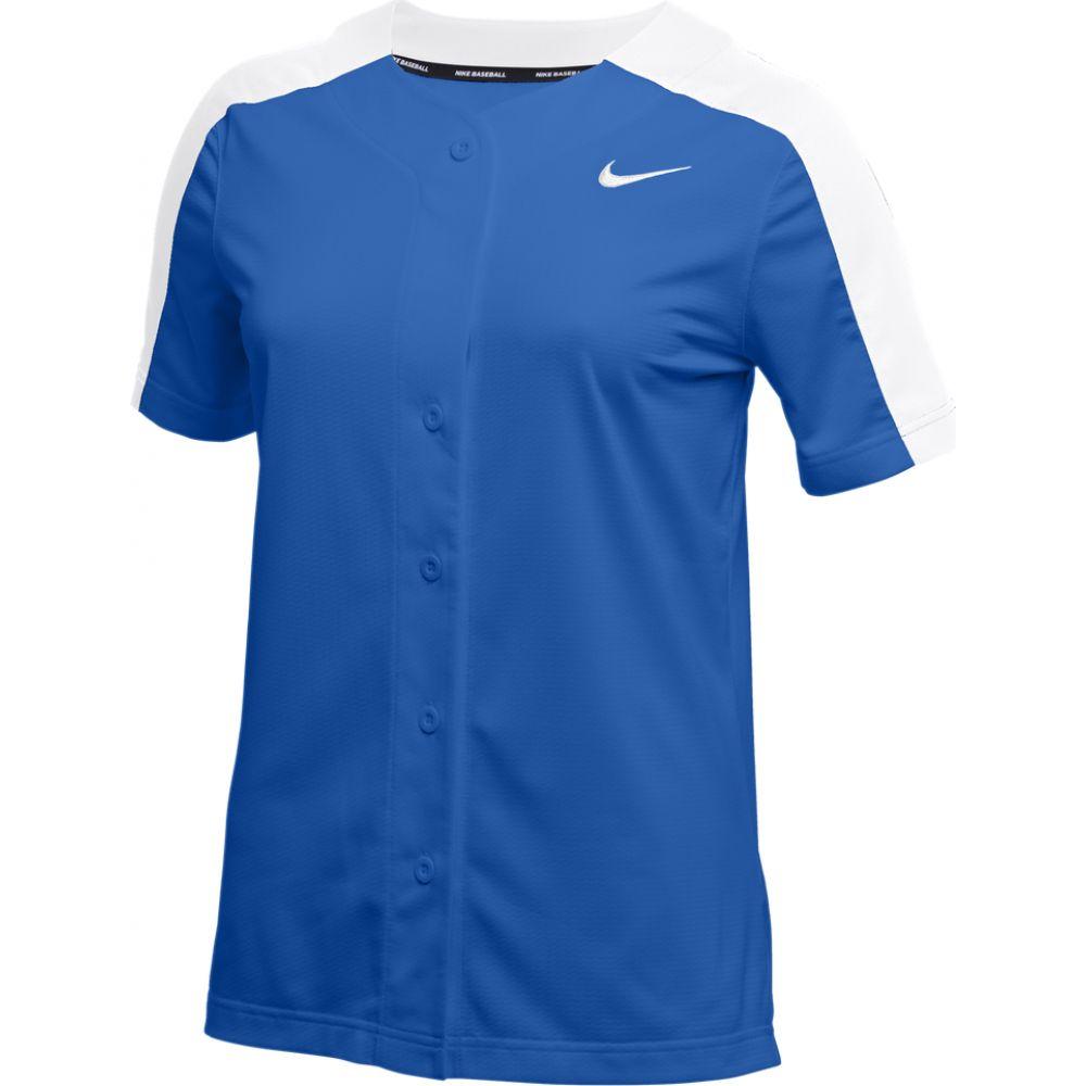 ナイキ Nike レディース 野球 トップス【Team Stock Vapor Select Full Button Jersey】Royal/White/White