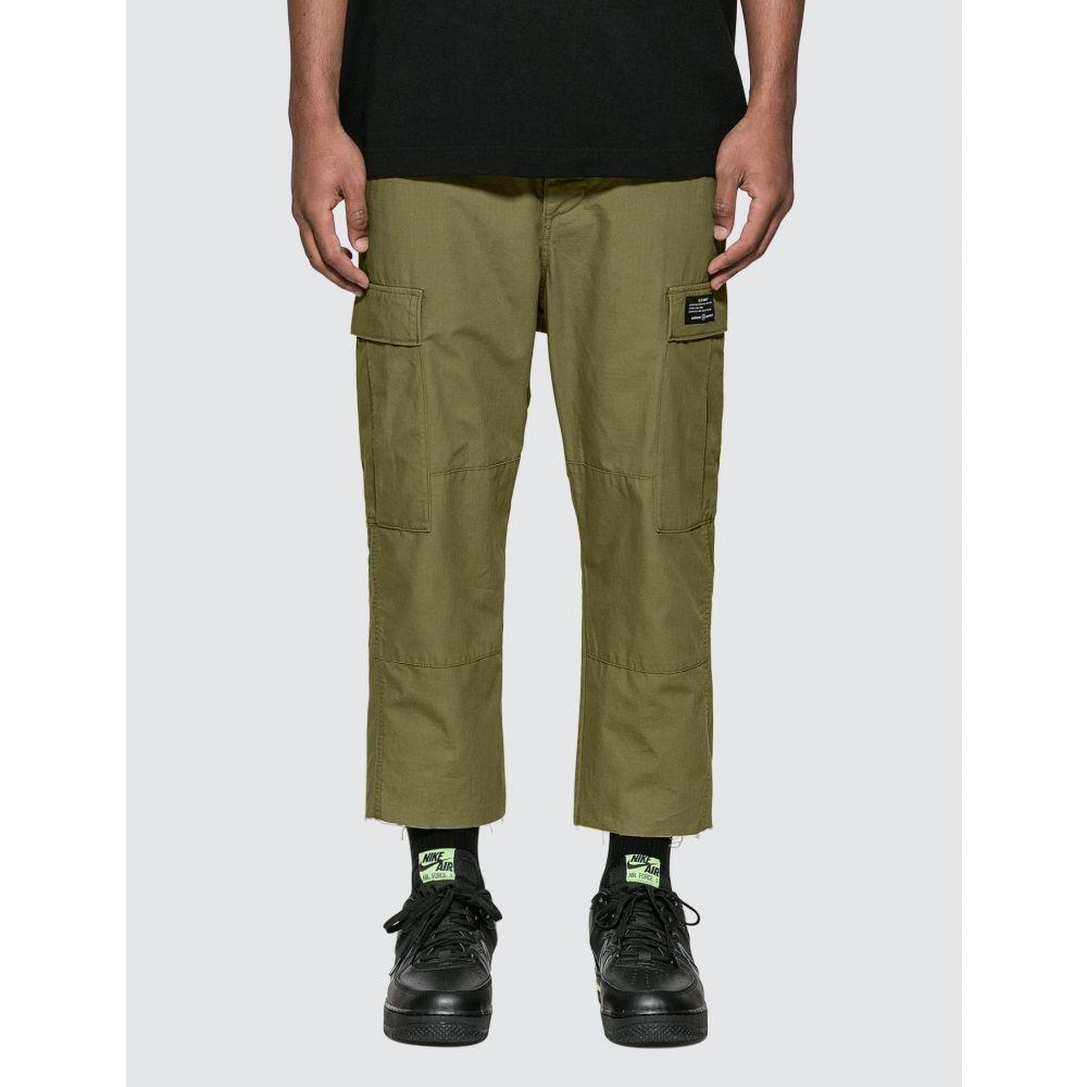 ユニフォームエクスペリメント uniform experiment メンズ カーゴパンツ ボトムス・パンツ【Hem Cut Off Cropped Cargo Pants】Khaki