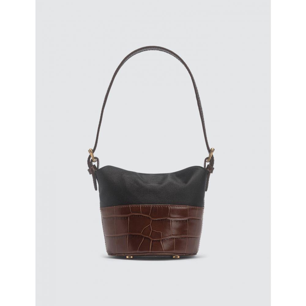 バイ ファー BY FAR レディース トートバッグ バッグ【Mini Jamie Nutella Croco Embossed Leather And Black Silk Top Handle Bag】Nutella