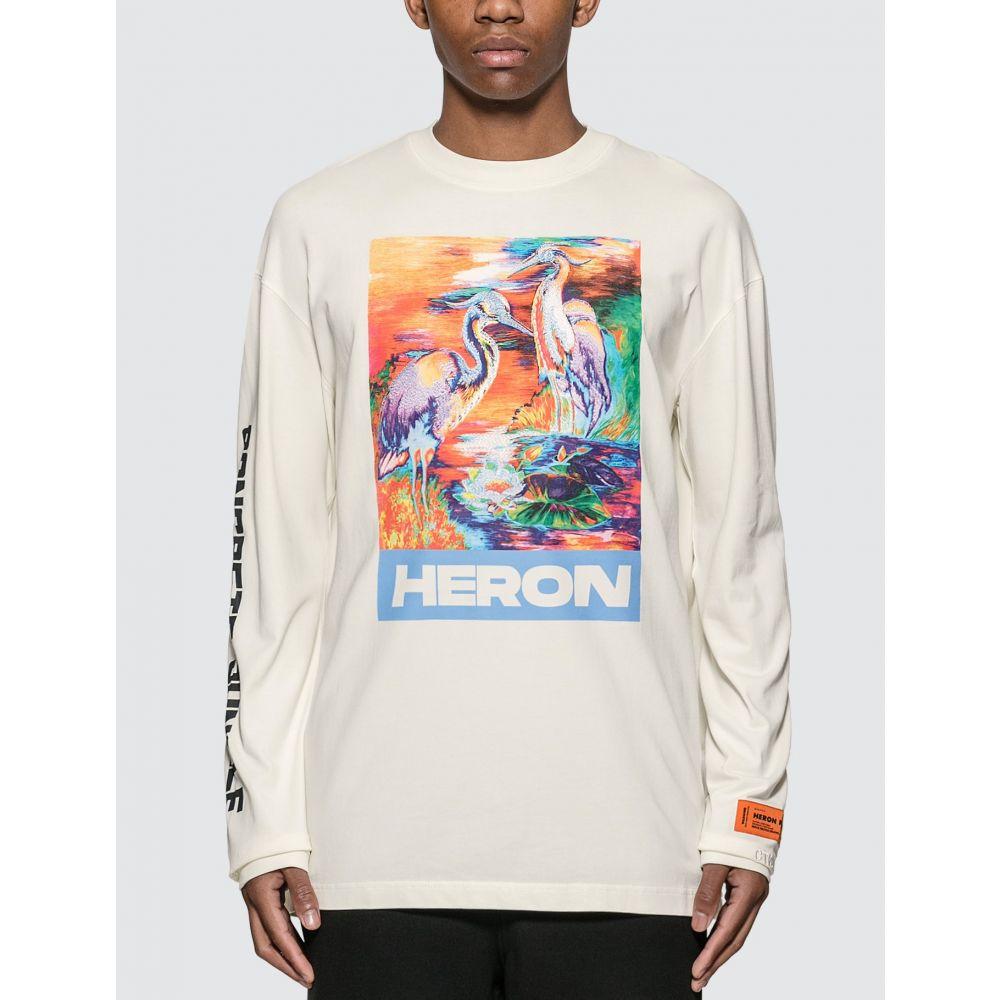 ヘロン プレストン Heron Preston メンズ 長袖Tシャツ トップス【Heron Birds Long Sleeve T-shirt】White