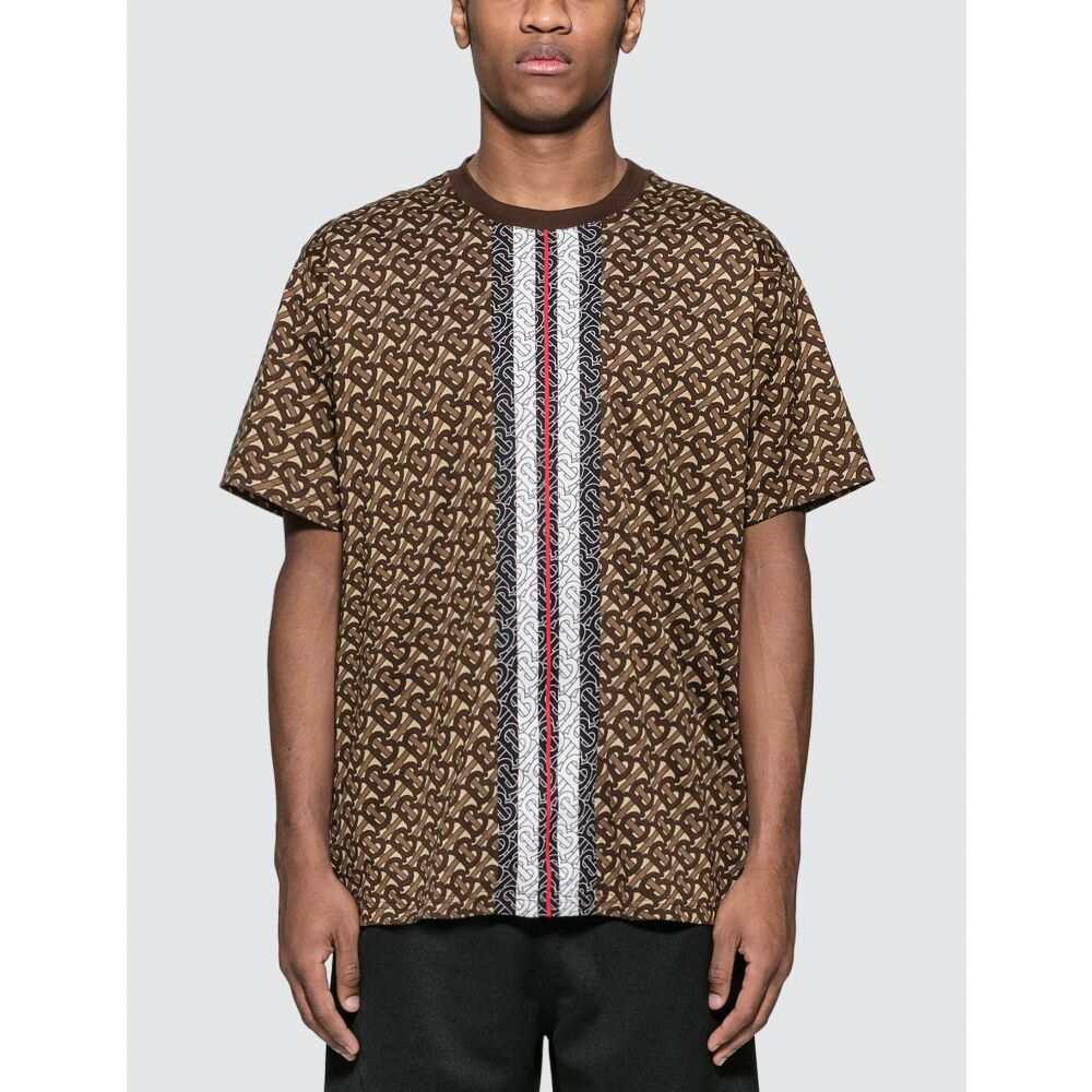 バーバリー Burberry メンズ Tシャツ トップス【Monogram Stripe T-Shirt】Bridle Brown