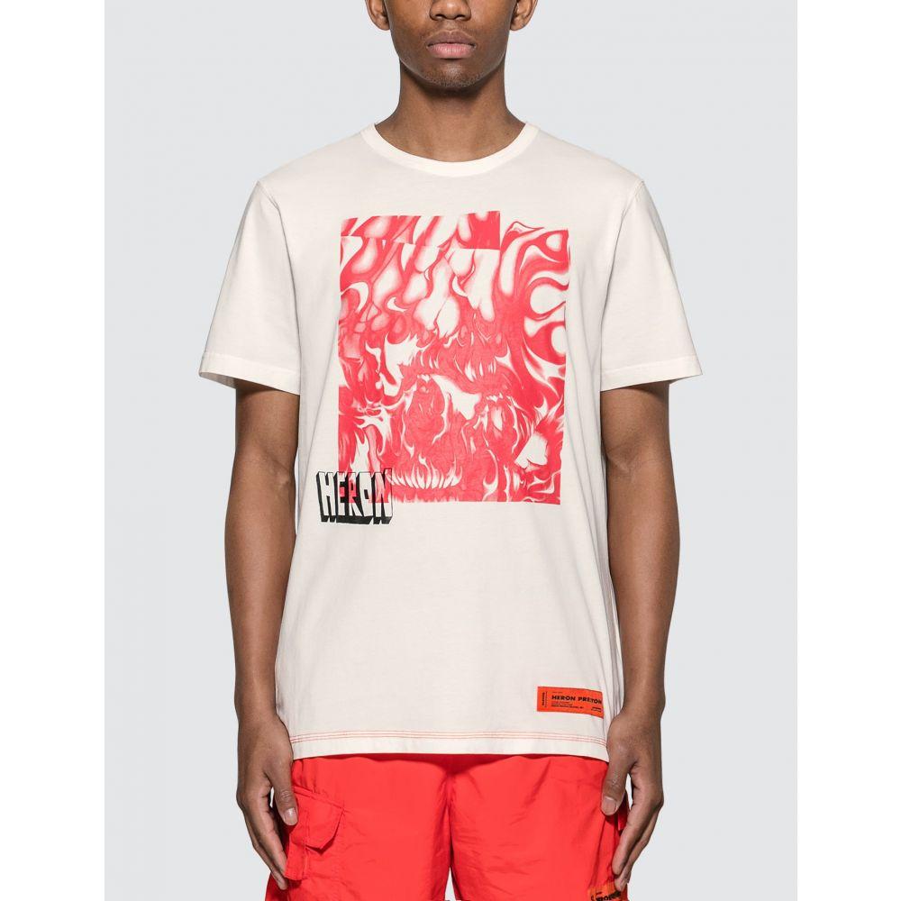 ヘロン プレストン Heron Preston メンズ Tシャツ トップス【Box Skull T-Shirt】White/Fuchsia