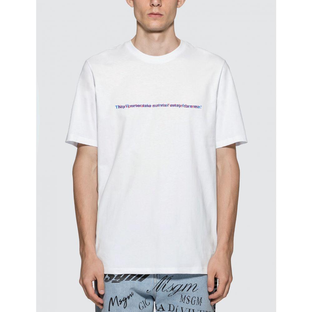 エムエスジーエム MSGM メンズ Tシャツ トップス【Optical Lettering Print T-Shirt】White