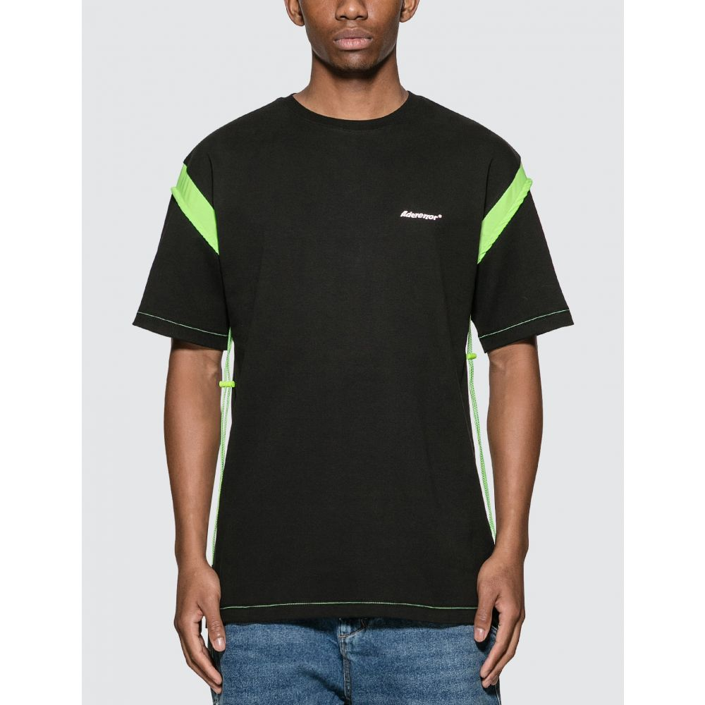 アーダーエラー Ader Error メンズ Tシャツ トップス【Drawcord Arm T-Shirt】Black/Neon Green