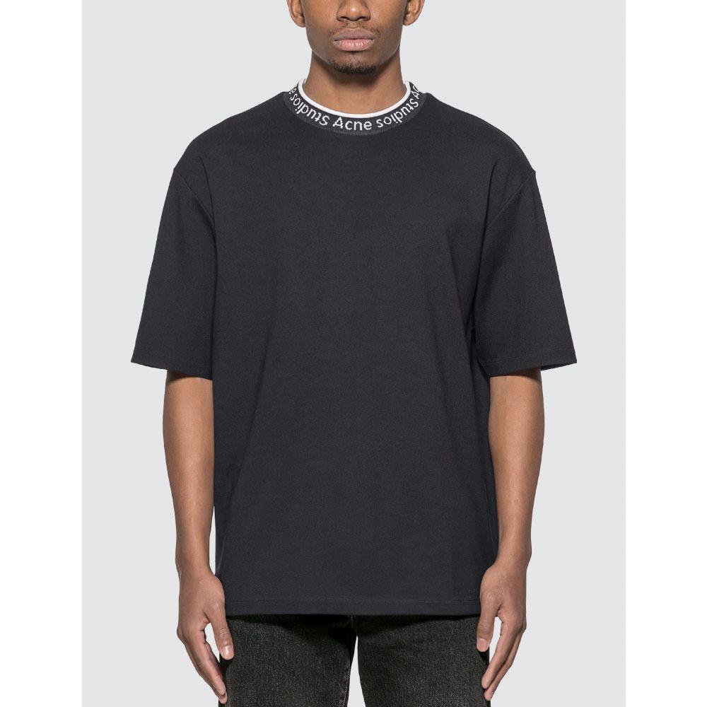 アクネ ストゥディオズ Acne Studios メンズ Tシャツ トップス【Logo Neck T-Shirt】Black
