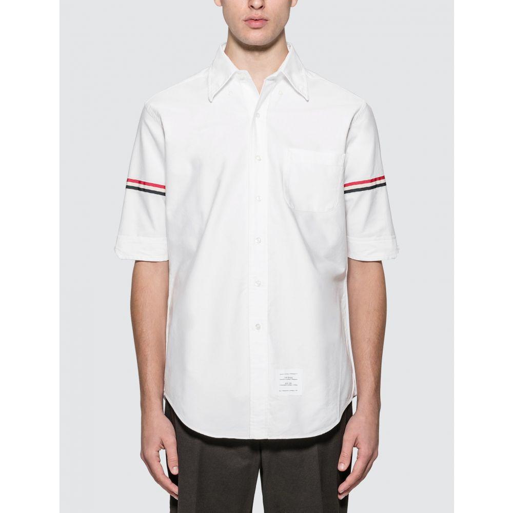 トム ブラウン Thom Browne メンズ 半袖シャツ トップス【Classic Short Sleeve Oxford Shirt With Stripe】White