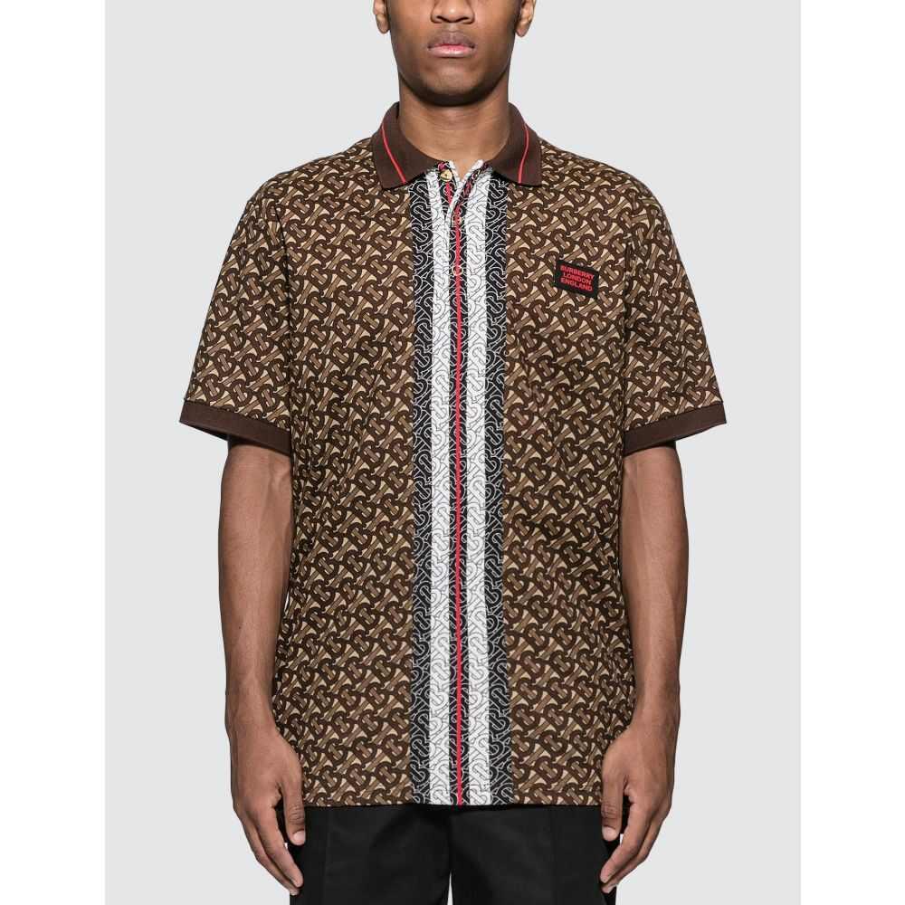 バーバリー Burberry メンズ ポロシャツ トップス【Monogram Stripe Print Cotton Pique Polo Shirt】Bridle Brown
