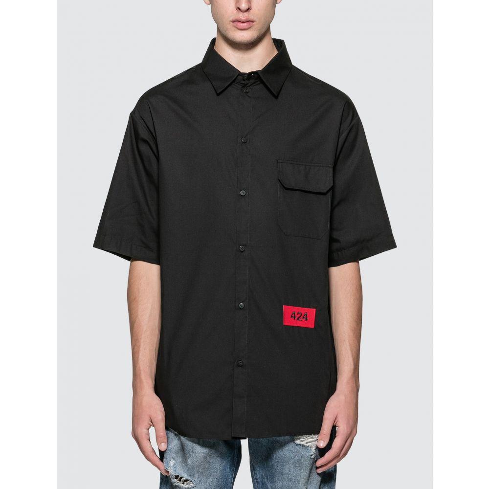 フォートゥーフォー 424 メンズ 半袖シャツ トップス【Logo Short Sleeve Shirt】Black