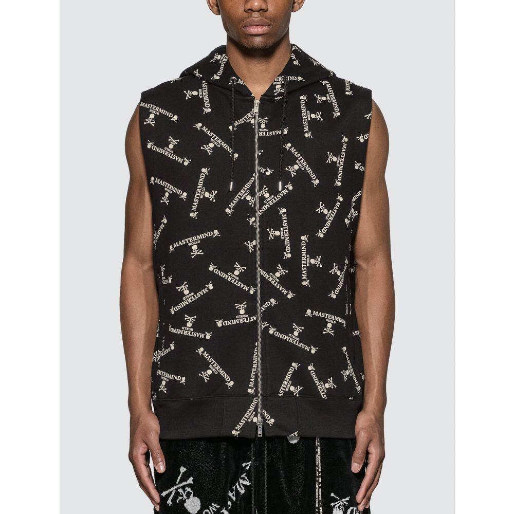 マスターマインド Mastermind World メンズ ノースリーブ トップス【Allover Logo Print Sleeveless Sweatshirt】Black