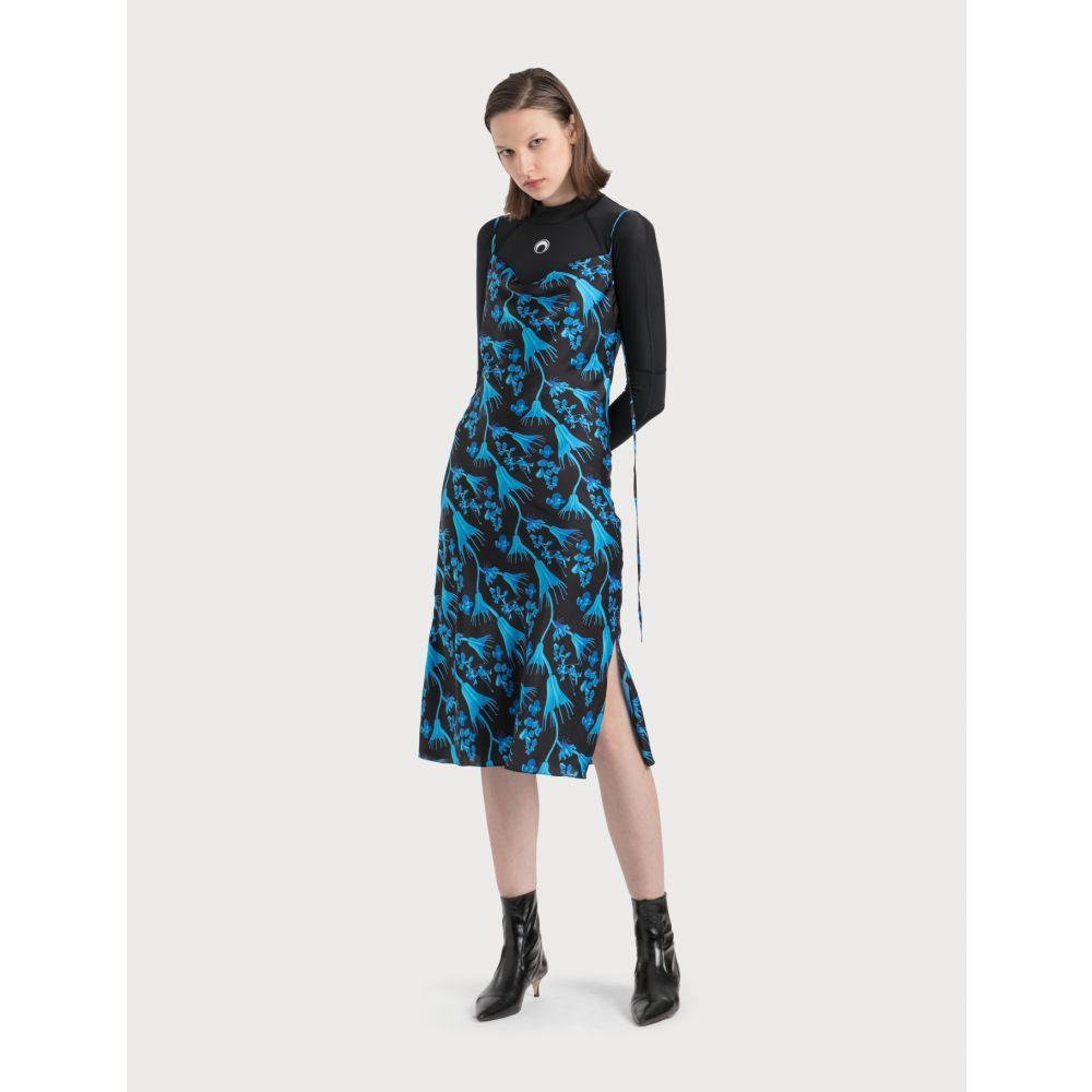 マリーン セル Marine Serre レディース ワンピース ワンピース・ドレス【Bias Dress In Radioactive Flower Print】Black/Blue