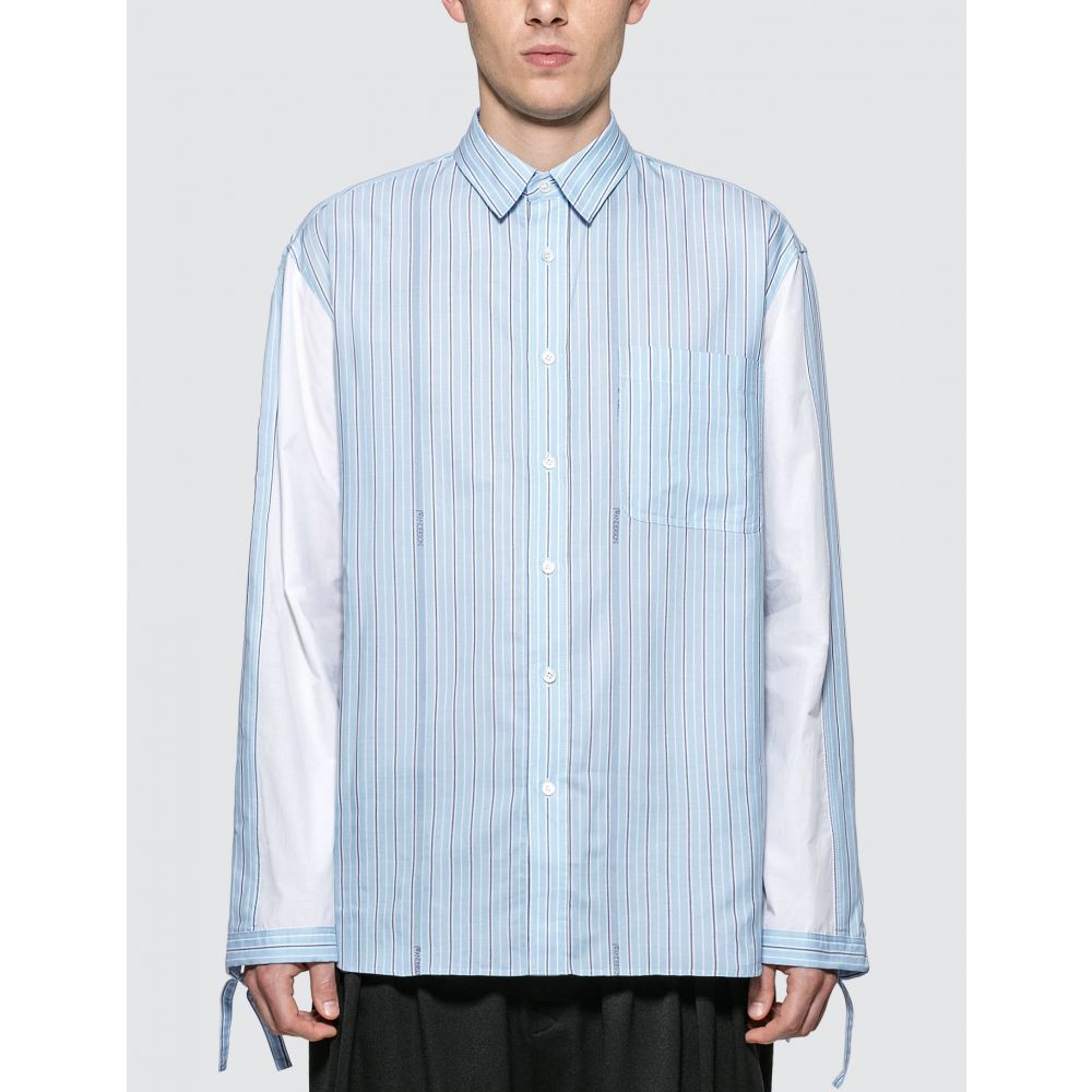 J.W.アンダーソン JW Anderson メンズ シャツ トップス【Drawstring Colorblock Logo Stripe Shirt】Baby Blue