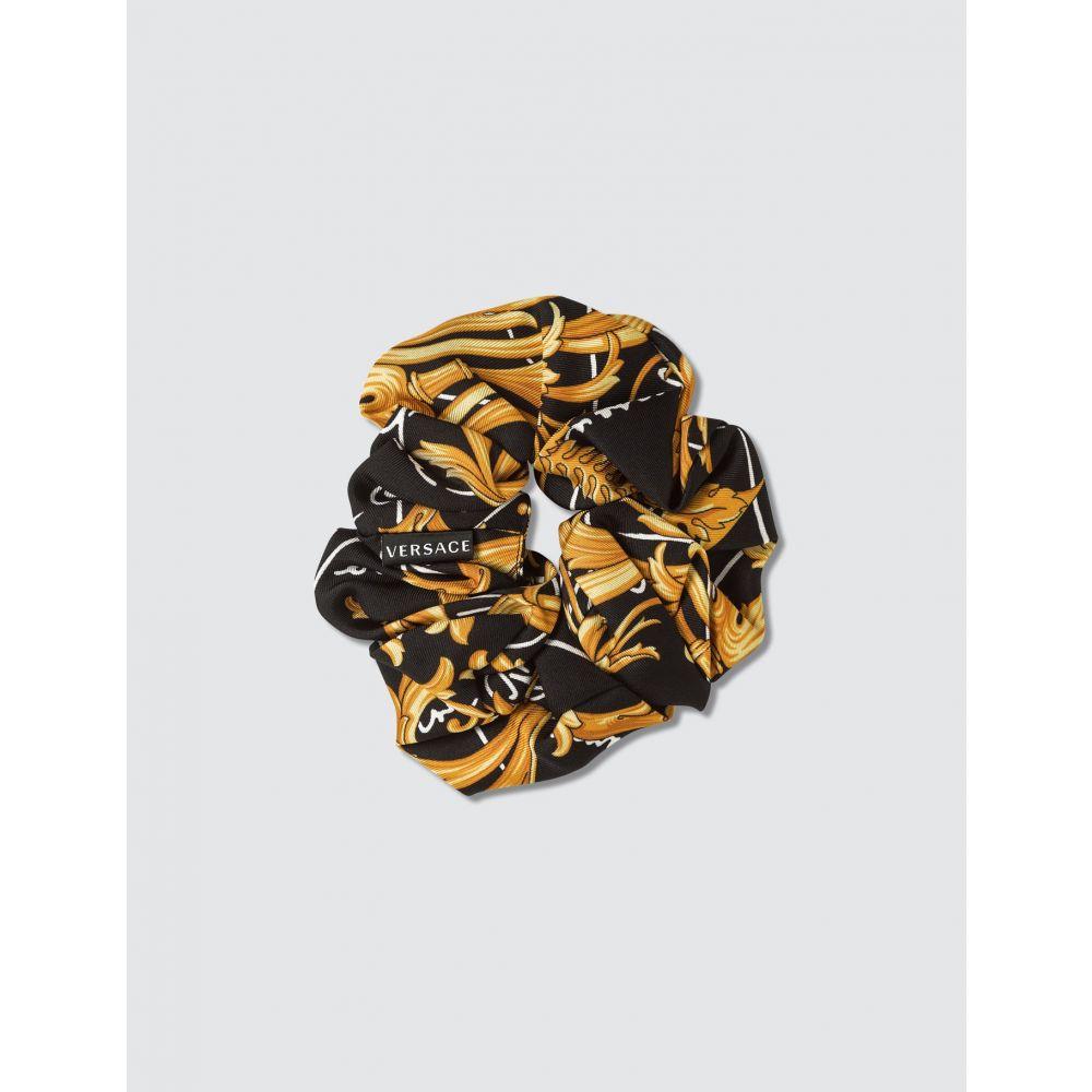 ヴェルサーチ Versace レディース ヘアアクセサリー 【Barocco Signature Print Silk Hair Tie】Black/Gold