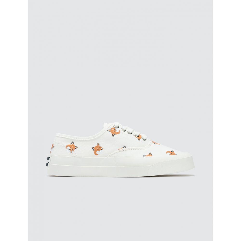 メゾン キツネ Maison Kitsune メンズ スニーカー シューズ・靴【Fox Head Print Canvas Sneakers】White