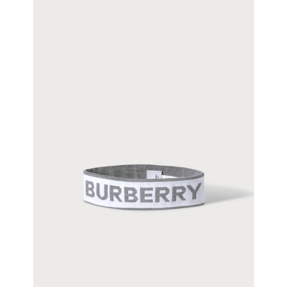 バーバリー Burberry レディース ヘアアクセサリー ヘッドバンド【Logo Intarsia Wool Blend Headband】White/Mid Grey