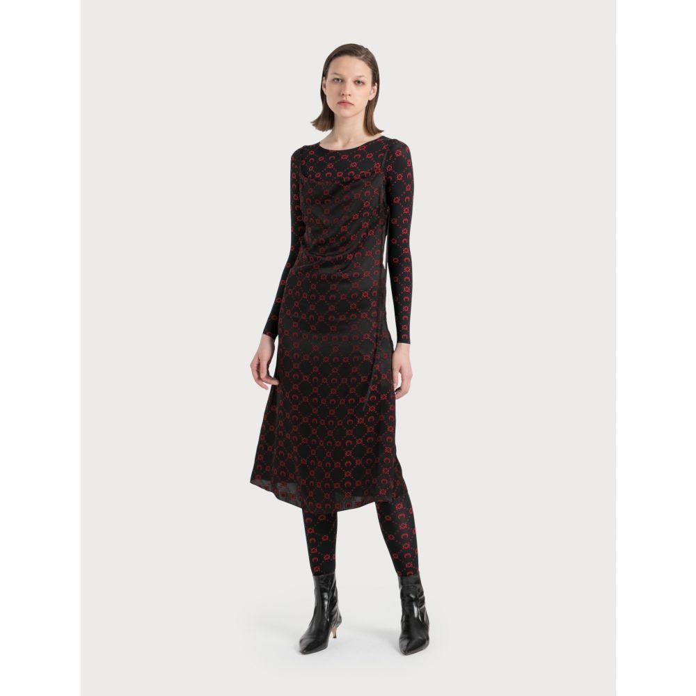 マリーン セル Marine Serre レディース ワンピース ワンピース・ドレス【Jacquard Silk Bias Dress】Black