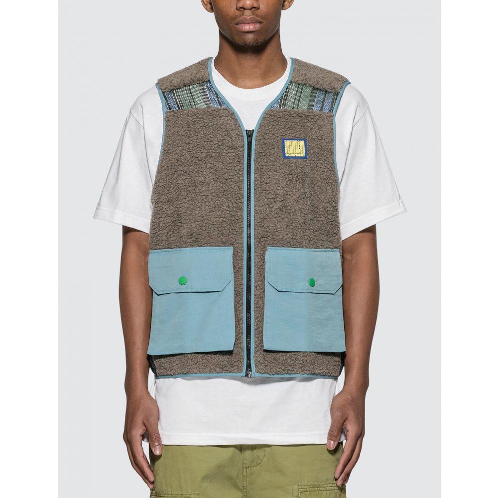 ブレインデッド Brain Dead メンズ ベスト・ジレ トップス【Sherpa Tactical Vest】Brown/Sky Blue