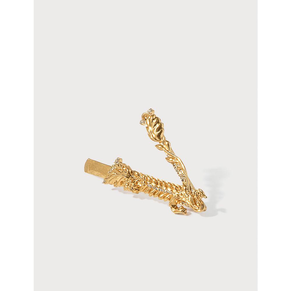 ヴェルサーチ Versace レディース ヘアアクセサリー ヘアピン【Virtus Crystal Hair Pin】Gold