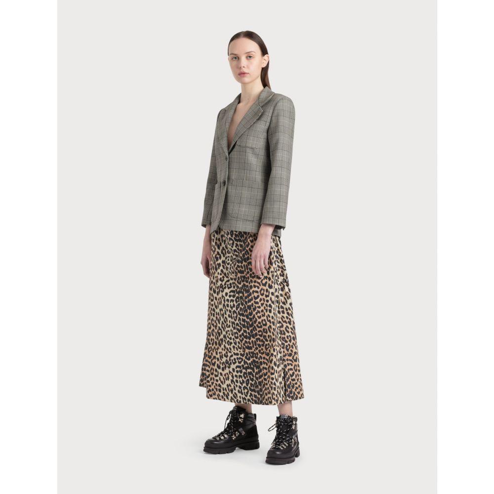 ガニー Ganni レディース ロング・マキシ丈スカート スカート【Printed Cotton Poplin Maxi Skirt】Leopard