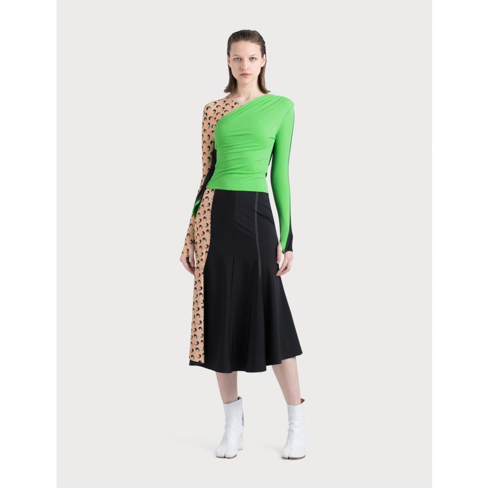 マリーン セル Marine Serre レディース スカート 【Contrast Side Skirt】Black/Beige/Green