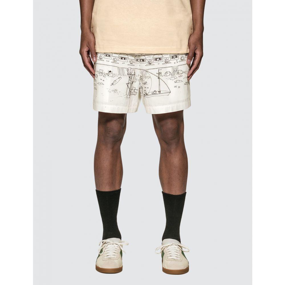 ランバン Lanvin メンズ 海パン ショートパンツ 水着・ビーチウェア【Babar Print Swim Shorts】Black/White