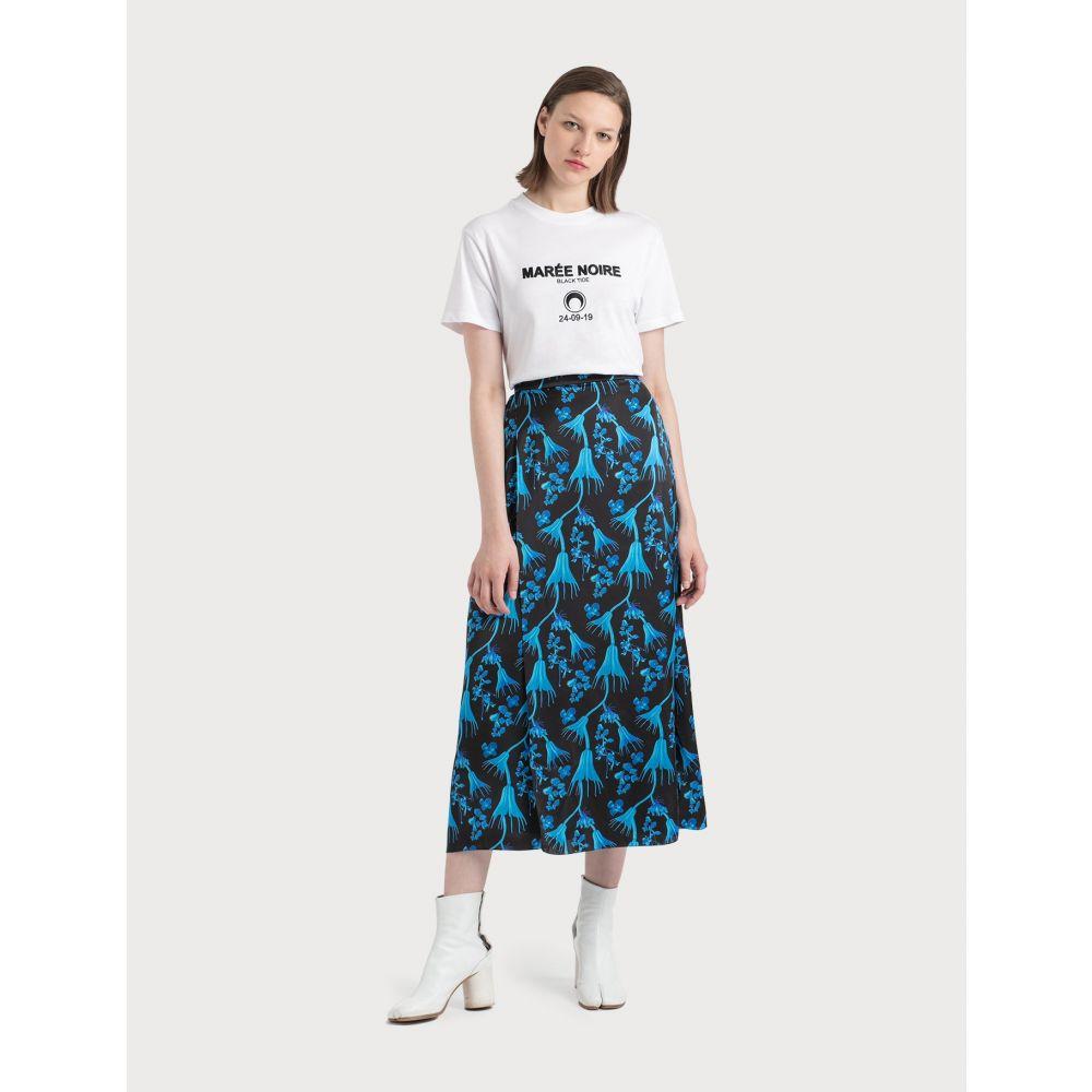 マリーン セル Marine Serre レディース ひざ丈スカート ラップスカート スカート【Wrap Midi Skirt In Radioactive Flower Print】Black/Blue