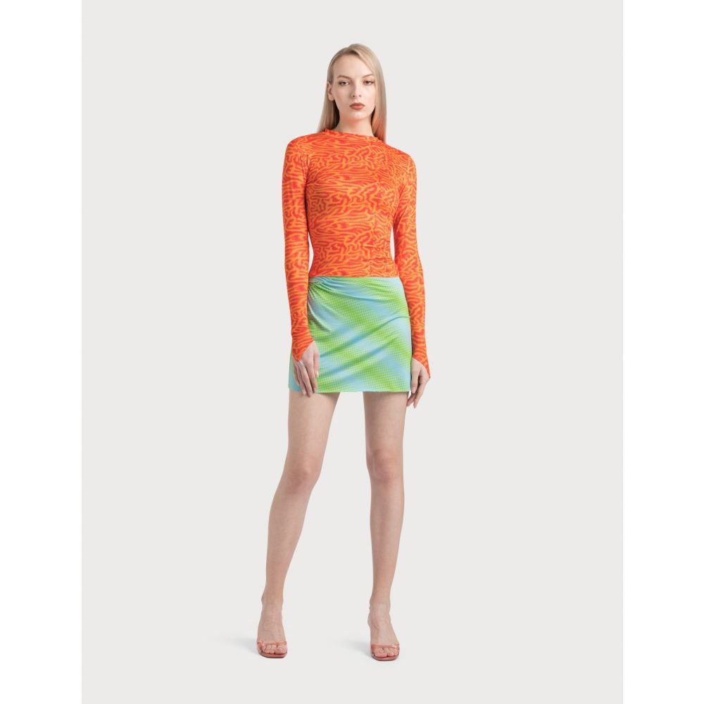 スカート【Ruched レディース Maisie Miniskirt】Green/Blue ミニスカート メイジー ウィレン Wilen