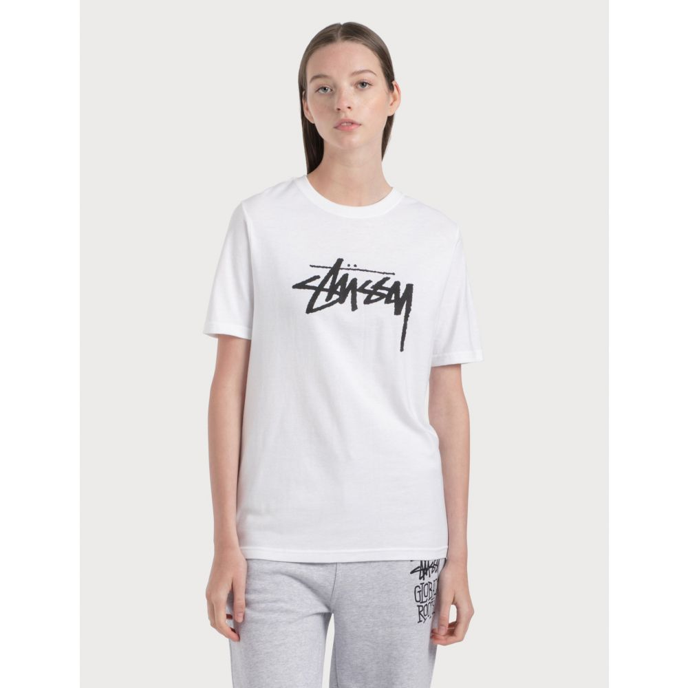 ステューシー Stussy レディース Tシャツ トップス【Stock T-Shirt】White