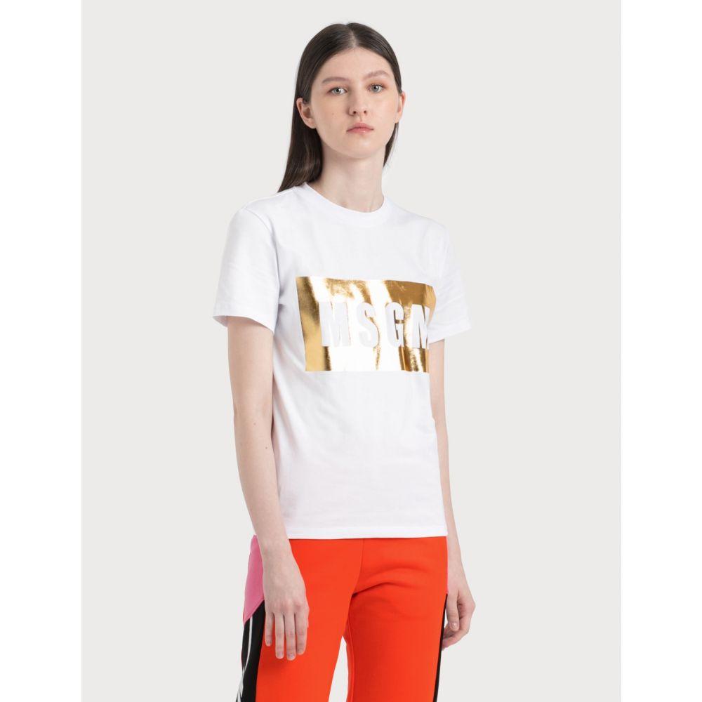 エムエスジーエム MSGM レディース Tシャツ トップス【Box Logo Print T-Shirt】White