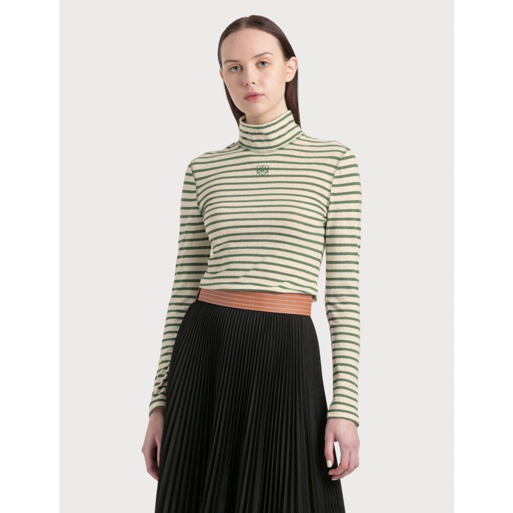ロエベ Loewe レディース 長袖Tシャツ トップス【Stripe Long Sleeve T-shirt】Green