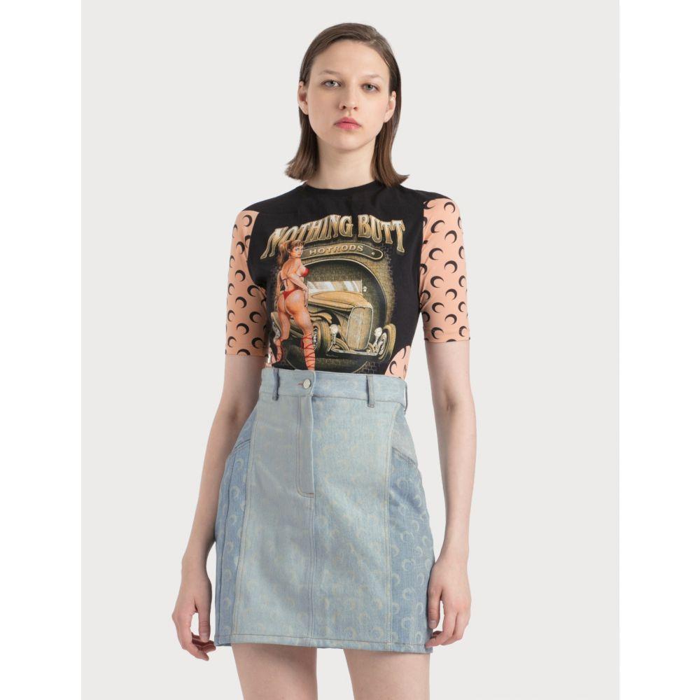 マリーン セル Marine Serre レディース Tシャツ トップス【Upcycled Moon Intervened T-Shirt】Black/Tan