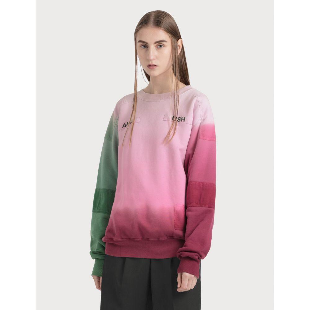 アンブッシュ Ambush レディース スウェット・トレーナー トップス【New Patchwork Sweatshirt】Faded Pink/Green