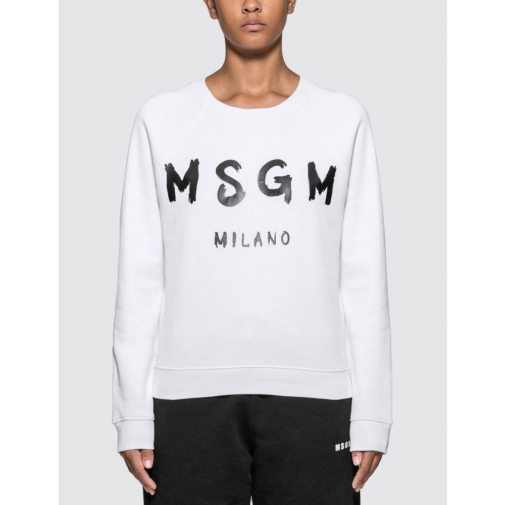 エムエスジーエム MSGM レディース スウェット・トレーナー トップス【Blush Logo Sweatshirt】Optical White
