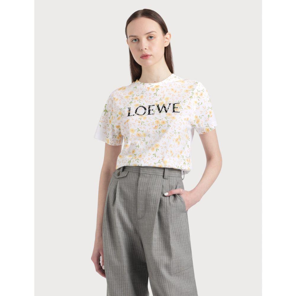 ロエベ Loewe レディース Tシャツ トップス【Flower Print T-shirt】White/Yellow