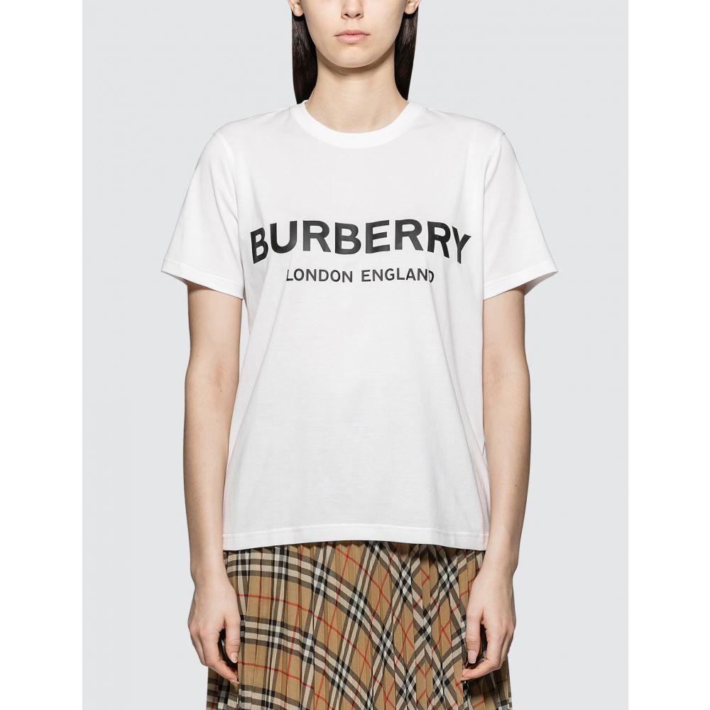 バーバリー Burberry レディース Tシャツ トップス【Logo Print T-shirt】White