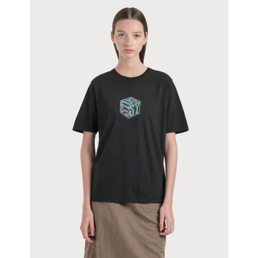 ステューシー Stussy レディース Tシャツ トップス【Cube Pigment Dyed T-Shirt】Black