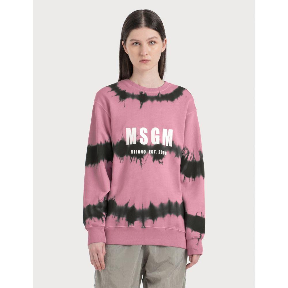 エムエスジーエム MSGM レディース スウェット・トレーナー トップス【Tie Dye Logo Sweatshirt】Black/Pink