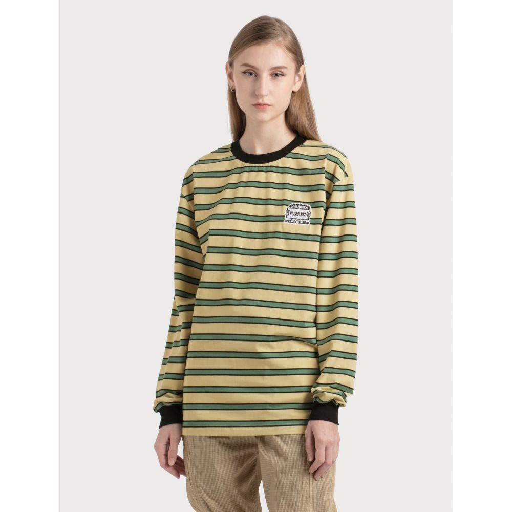 プレジャーズ Pleasures レディース 長袖Tシャツ トップス【Hangman Premium Striped Long Sleeve Shirt】Green