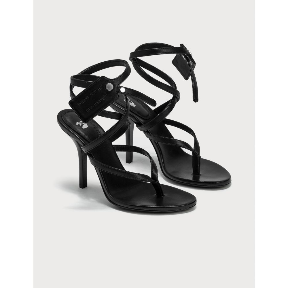 オフホワイト Off-White レディース サンダル・ミュール シューズ・靴【Zip Tie Leather Sandal】Black