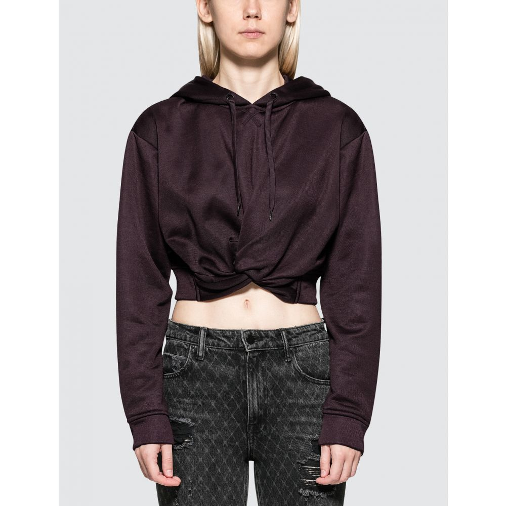 アレキサンダーワン Alexander Wang.T レディース パーカー トップス【Sleek French Terry Twistfront Hoodie】Maroon