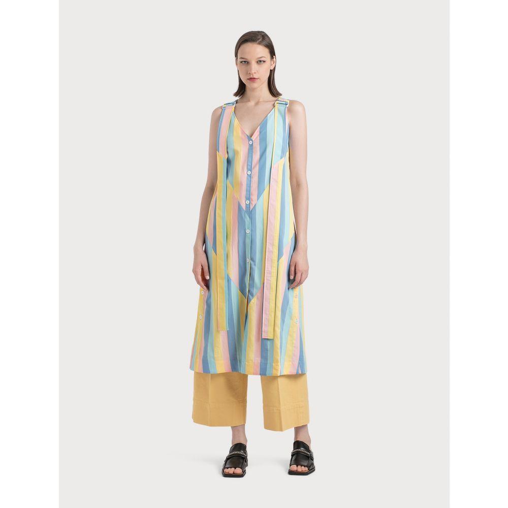 メゾン キツネ Maison Kitsune レディース ワンピース キャミワンピ ワンピース・ドレス【Buttoned Camisole Dress】Pastel Stripe