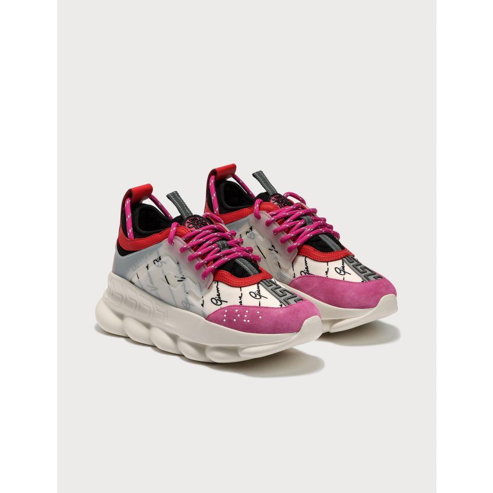 ヴェルサーチ Versace レディース スニーカー シューズ・靴【Chain Reaction Sneakers】White/Black/Fuchsia
