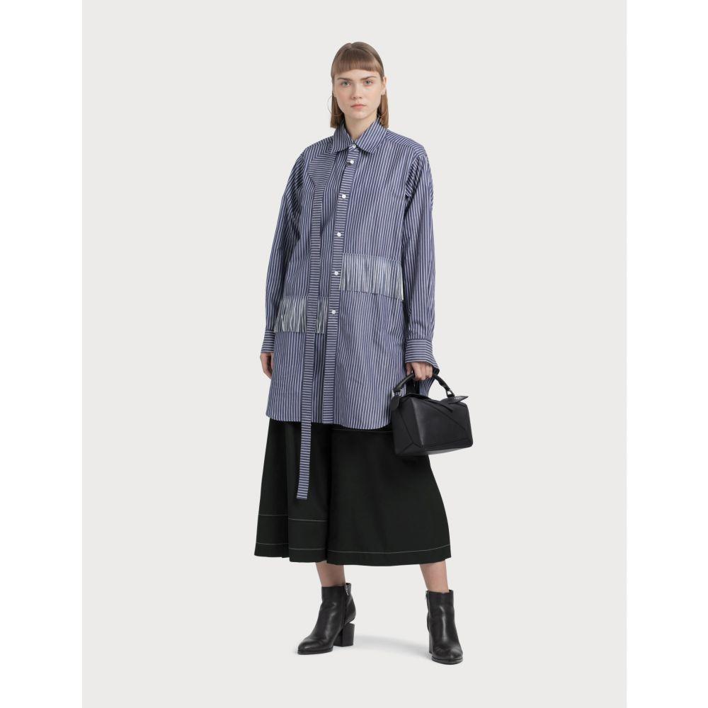 ロエベ Loewe レディース ブラウス・シャツ トップス【Strap Stripes Fringes Shirt】Blue/white