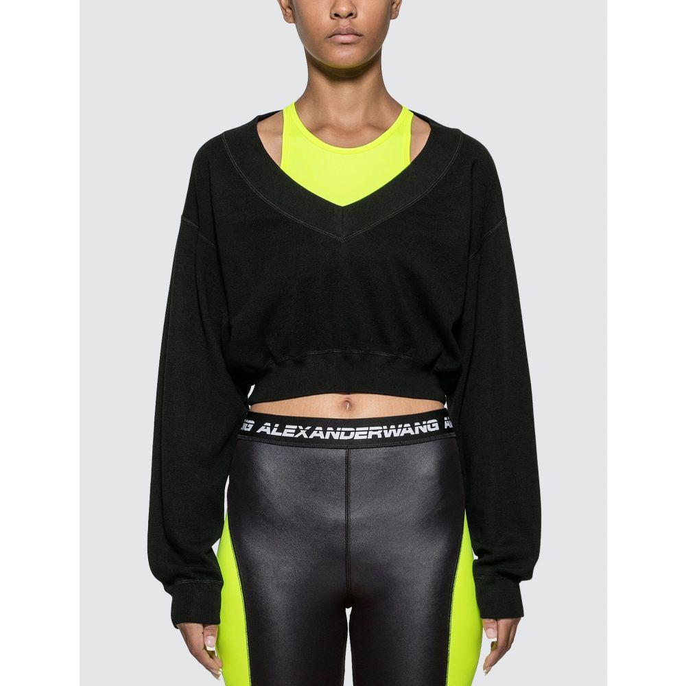 アレキサンダーワン Alexander Wang.T レディース ニット・セーター トップス【Bi-layer Sweater】Black/Neon Green